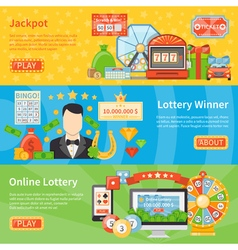 Lottery and jackpot horizontal banners vector