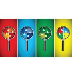 Magnifying glass on a multicoloured jigsaw vector