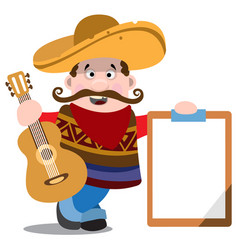 mariachi in a sombrero with a guitar mexican vector image