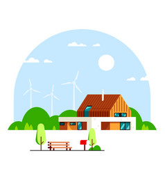 modern house with wind turbines on background vector image