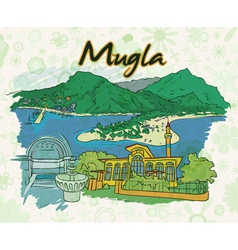 Mugla doodles with floral vector