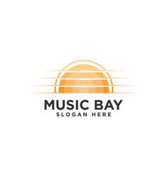 Music bay logo design template vector