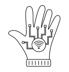 Nfc glove icon outline style vector