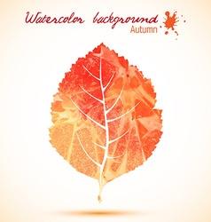 Orange watercolor leaves vector image