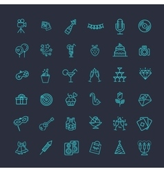 Outline web icon set - Party Birthday Holidays vector