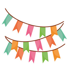 pennants decoration festive party isolated icon vector image