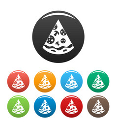 pizza slice icons set color vector image