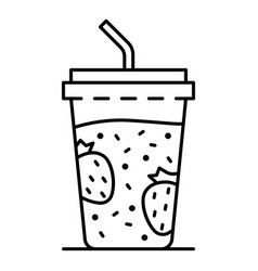plastic smoothie glass icon outline style vector image