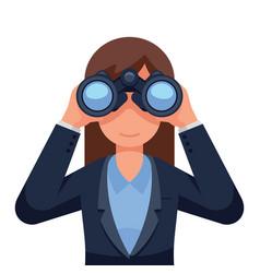 Printbusiness woman looking through binoculars vector