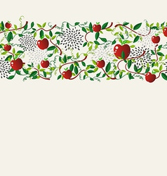 Red apple food seamless pattern garland vector