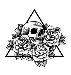 Rose and skull tattoo with sacred geometry frame vector