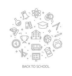 round shape with school symbols symbols and vector image