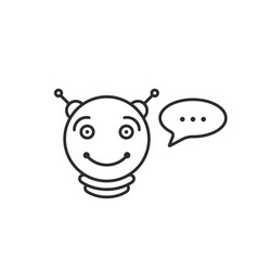Round thin line chatbot icon vector