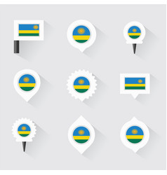 Rwanda flag and pins for infographic and map vector