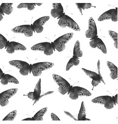 seamless background with black butterflies hand vector image