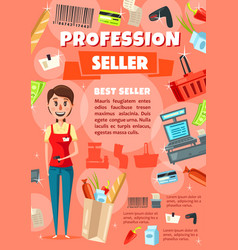 seller vacancy in supermarket staff hiring vector image