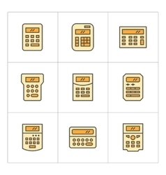 Set color line icons of calculator vector image