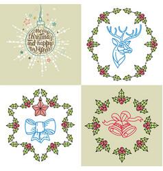 set four christmas card with christmas vector image
