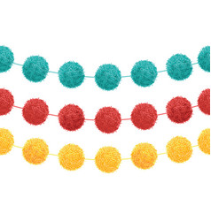Set of 3 cute birthday party pom poms on vector