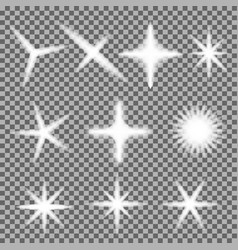 set of glowing light bursts with sparkles o vector image