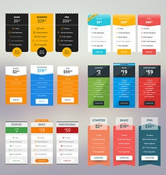 Set of Pricing Table in Flat Design Style for vector image