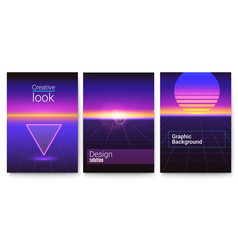 Set retro futuristic covers abstract digital vector