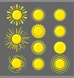 set yellow suns vector image