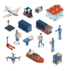 Shipping isometric icons collection vector