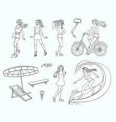 sketch girls summer leisure activity set vector image