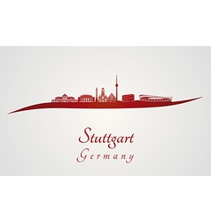Stuttgart skyline in red vector image