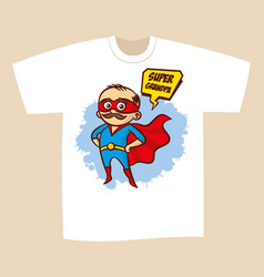 T-shirt print design superhero grandpa vector