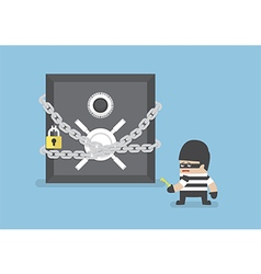 thief standing in front safe box with chain and vector image