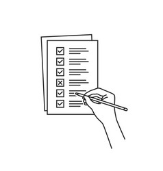 thin line hand with quiz or checklist task vector image