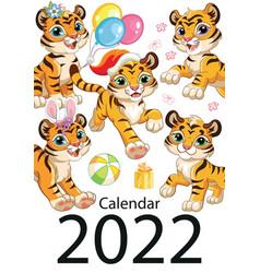Tiger wall calendar cover design template 2022 vector