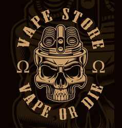 vaping skull on dark background vector image