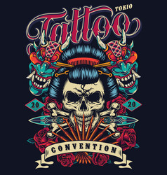 Vintage tattoo festival poster vector