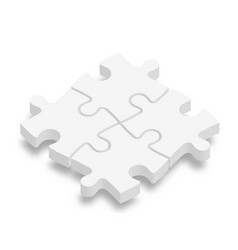 white 3d jigsaw puzzle pieces team cooperation vector image