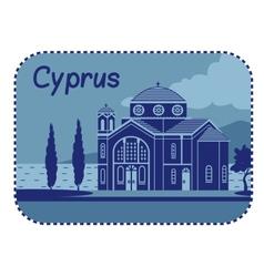 With Agios Georgios church in Cyprus vector