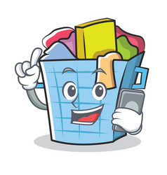 with phone laundry basket character cartoon vector image