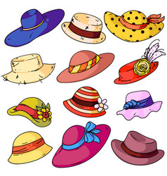 woman hat fashion set vector image