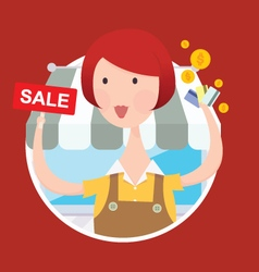 Woman working with sale sign vector image
