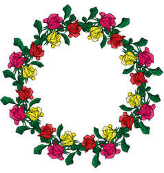 Wreath of red yellow and pink roses vector