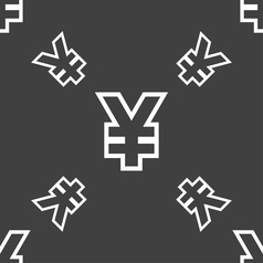 Yen JPY icon sign Seamless pattern on a gray vector image