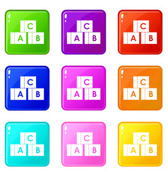 alphabet cubes with letters abc set 9 vector image vector image