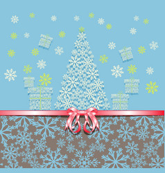 christmas and new year greeting card with pink vector image