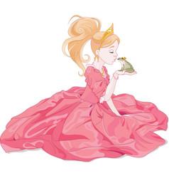 Princess Kissing Frog vector image vector image