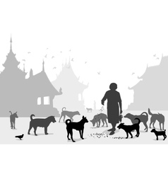 Temple dog carer vector image vector image