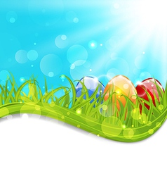 April card with Easter set colorful eggs vector image vector image