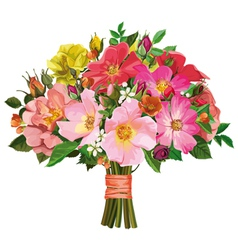 bouquet of multicolored roses and wild flowers vector image