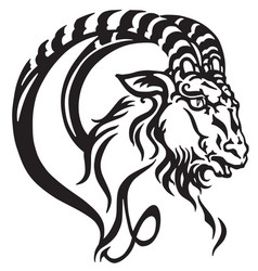 capricorn head tattoo vector image vector image